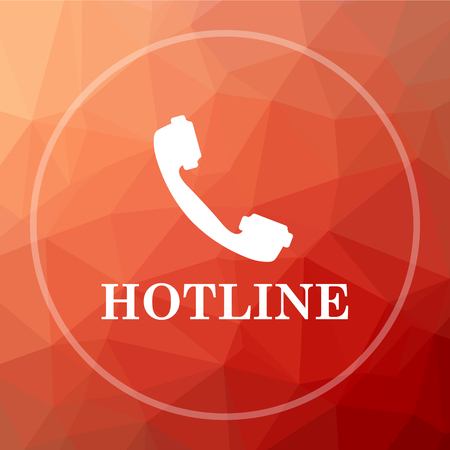 hotline: Hotline icon. Hotline website button on red low poly background.