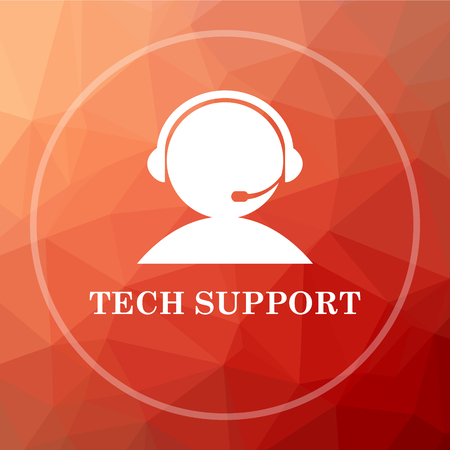 computer operator: Tech support icon. Tech support website button on red low poly background. Stock Photo