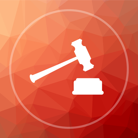 Judge hammer icon. Judge hammer website button on red low poly background. Stock Photo