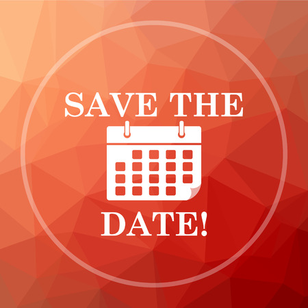 event planner: Save the date icon. Save the date website button on red low poly background. Stock Photo