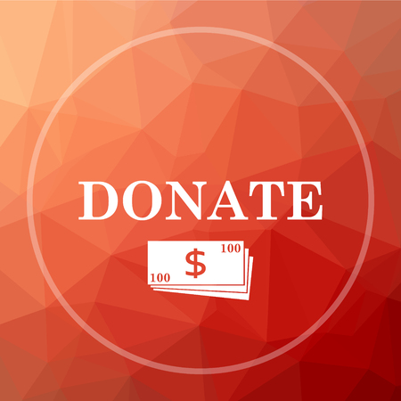 Donate icon. Donate website button on red low poly background.