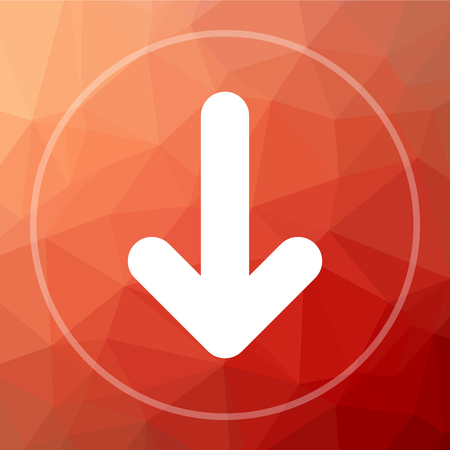 Down arrow icon. Down arrow website button on red low poly background.
