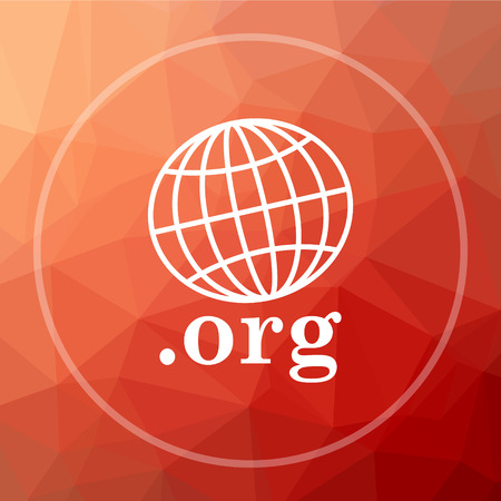 org: .org icon. .org website button on red low poly background.
