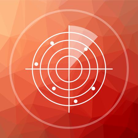 radar: Radar icon. Radar website button on red low poly background. Stock Photo