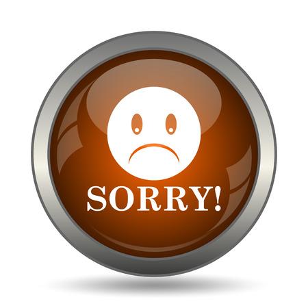 apologise: Sorry icon. Internet button on white background. Stock Photo