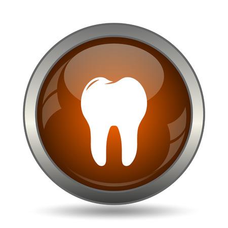 pasta de dientes: icono del diente. botón de internet sobre fondo blanco.