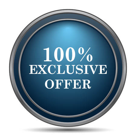 special edition: 100% exclusive offer icon. Internet button on white background. Stock Photo