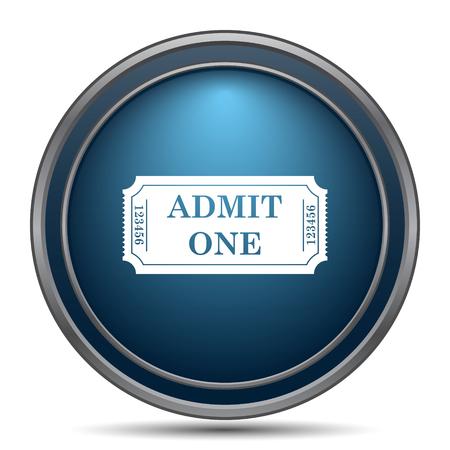 admit: Admit one ticket icon. Internet button on white background.