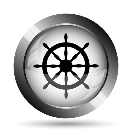 Nautical wheel icon. Nautical wheel website button on white background.