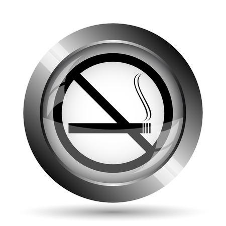 interdiction: No smoking icon. No smoking website button on white background.