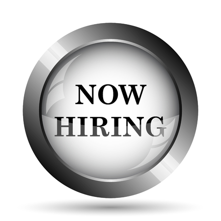 now hiring: Now hiring icon. Now hiring website button on white background.
