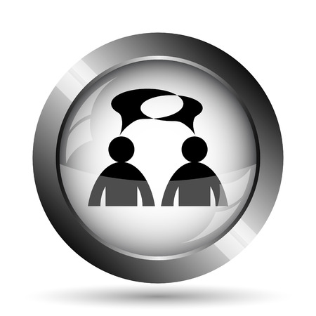 comments: Comments - men with bubbles icon. Comments - men with bubbles website button on white background.