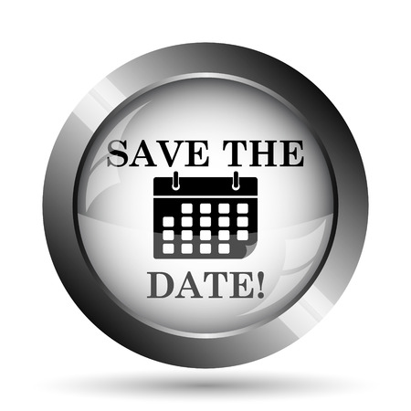 event planner: Save the date icon. Save the date website button on white background. Stock Photo