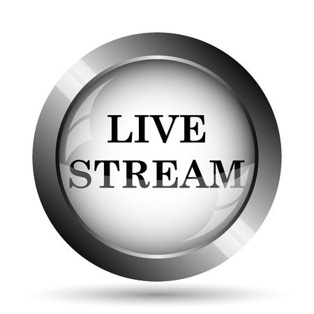 stream: Live stream icon. Live stream website button on white background. Stock Photo