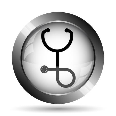 Stethoscope icon. Stethoscope website button on white background.