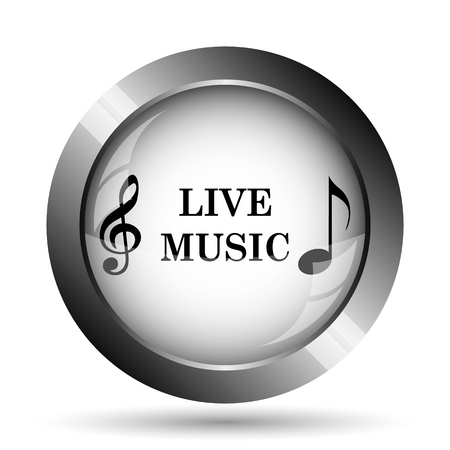 live stream sign: Live music icon. Live music website button on white background. Stock Photo