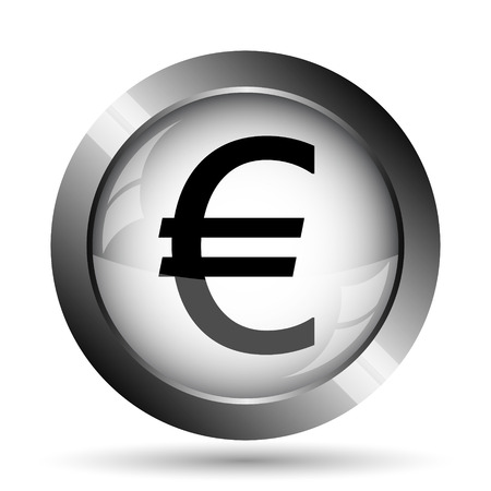 Euro icon. Euro website button on white background.
