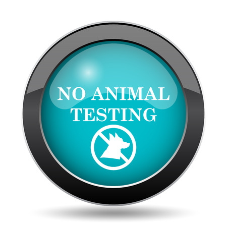 testing: No animal testing icon. No animal testing website button on white background.