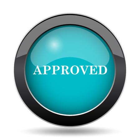 approved icon: Approved icon. Approved website button on white background.
