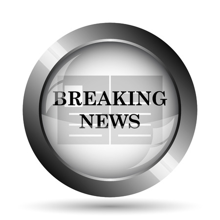 newscast: Breaking news icon. Breaking news website button on white background.