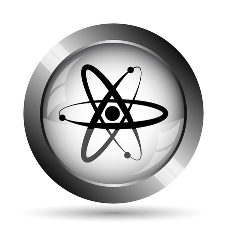 gamma radiation: Atoms icon. Atoms website button on white background.