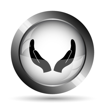 Protecting hands icon. Protecting hands website button on white background.