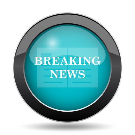 actual: Breaking news icon. Breaking news website button on white background.
