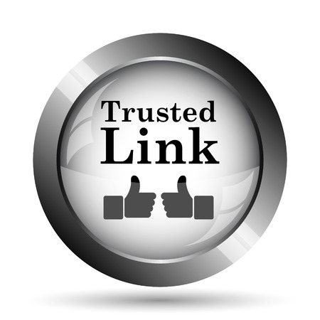 trusted: Trusted link icon. Trusted link website button on white background.