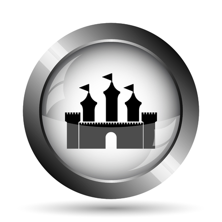 royal house: Castle icon. Castle website button on white background.