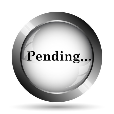 reviewed: Pending icon. Pending website button on white background. Stock Photo