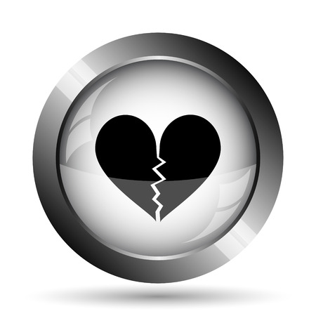 delusion: Broken heart icon. Broken heart website button on white background. Stock Photo