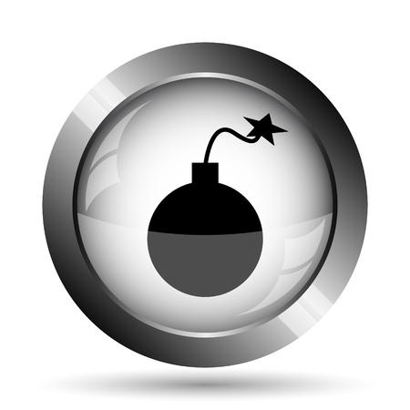 Bomb icon. Bomb website button on white background.