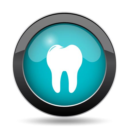 Tooth icon. Tooth website button on white background.