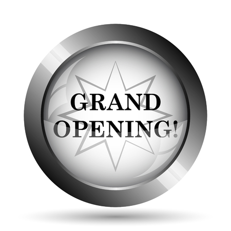 grand sale icon: Grand opening icon. Grand opening website button on white background.