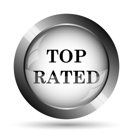 top rated: Top rated  icon. Top rated  website button on white background.
