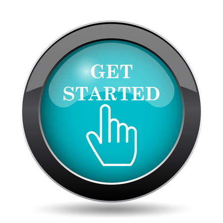 cyan business: Get started icon. Get started website button on white background.