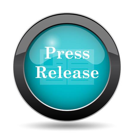 release: Press release icon. Press release website button on white background.