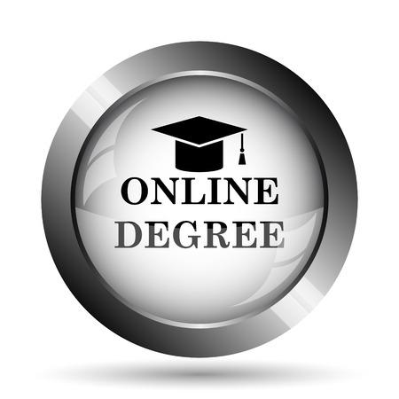 online degree: Online degree icon. Online degree website button on white background.
