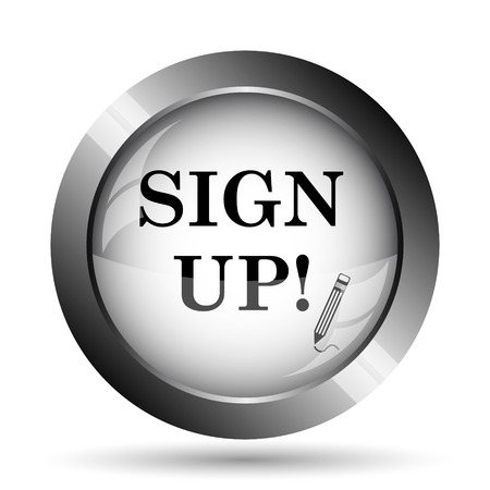 subscribing: Sign up icon. Sign up website button on white background.