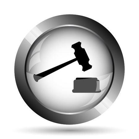 Judge hammer icon. Judge hammer website button on white background. Stock Photo