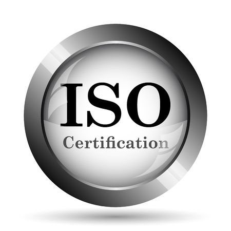 ISO certification icon. ISO certification website button on white background. Stock Photo