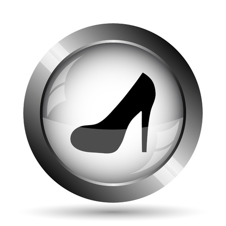 women's shoes: High heel icon. High heel website button on white background.