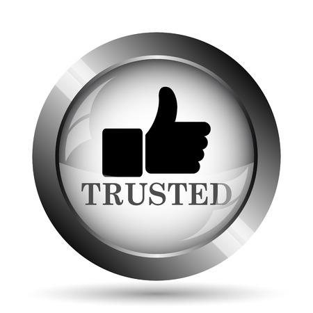 trusted: Trusted icon. Trusted website button on white background.