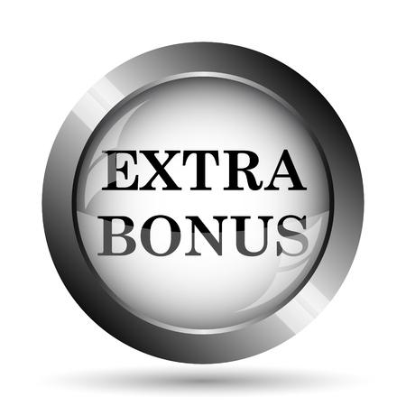 Extra bonus icon. Extra bonus website button on white background.