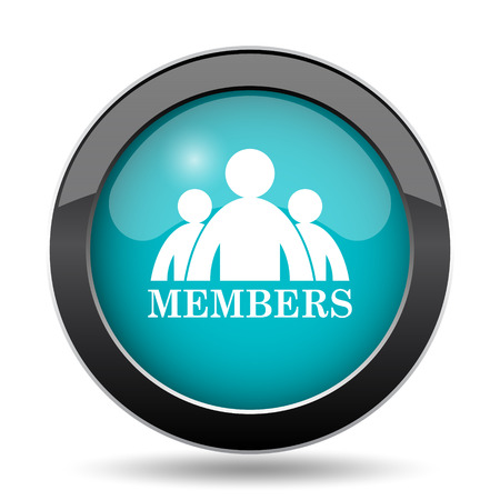 members: Members icon. Members website button on white background.