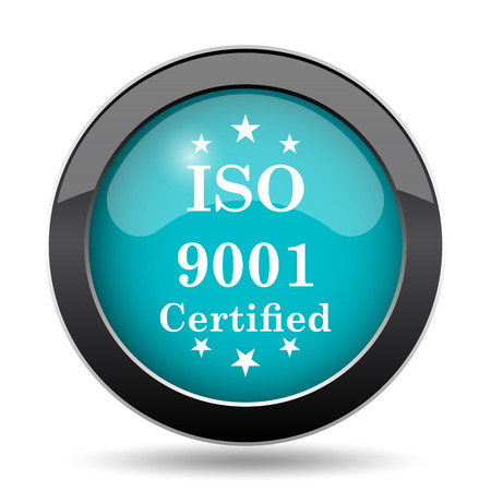 certify: ISO9001 icon. ISO9001 website button on white background. Stock Photo