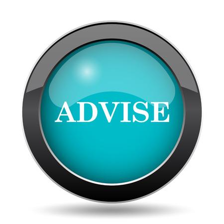 advise: Advise icon. Advise website button on white background.