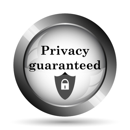 guaranteed: Privacy guaranteed icon. Privacy guaranteed website button on white background.