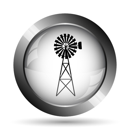 Classic windmill icon. Classic windmill website button on white background. Stock Photo