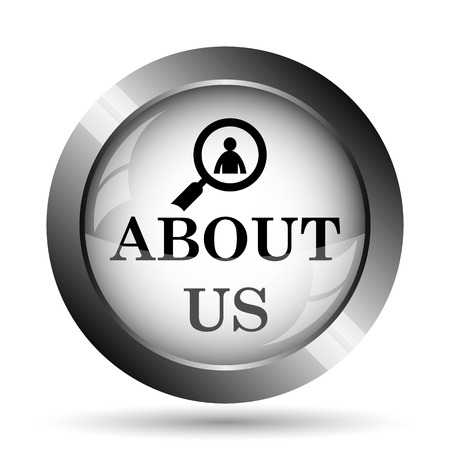 about us: About us icon. About us website button on white background.